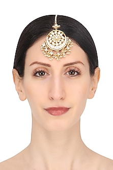 Gold Plated White Jadtar Stone Crescent Maang Tikka by Riana Jewellery