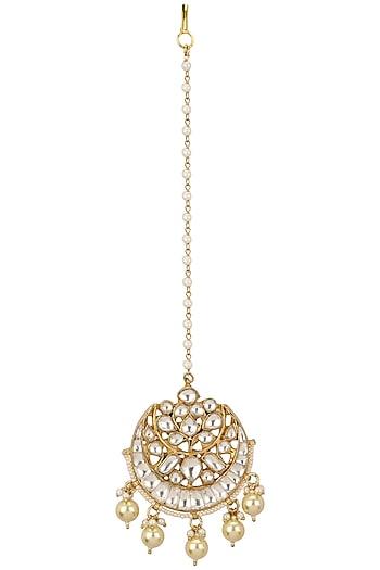 Gold Plated Jadtar Stone Round Maang Tikka by Riana Jewellery