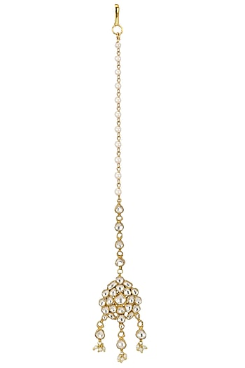 Gold Plated White Jadtar Stone Maang Tikka by Riana Jewellery