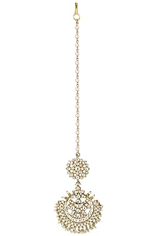 Gold Plated Round Crescent Maang Tikkaa by Riana Jewellery