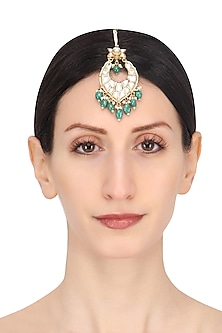 Gold Plated White and Green Stone Maang Tikka by Riana Jewellery