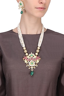 Gold Plated Pink and Green Stone Peacock Pendant Necklace With Earrings Set by Riana Jewellery