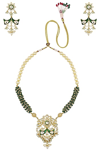 Gold Plated Green Stone Meena Pendant Necklace With Earrings Set by Riana Jewellery