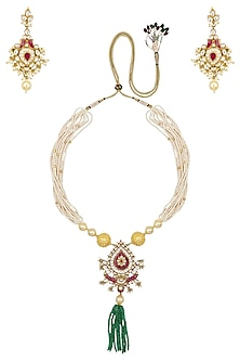 Gold Finish White and Red Stone Pendant Necklace by Riana Jewellery