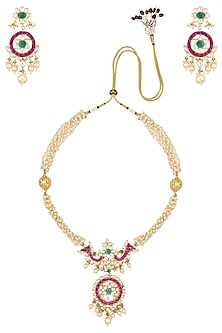 Gold Finish Pink Stone Pendant and Pearl Necklace Set by Riana Jewellery