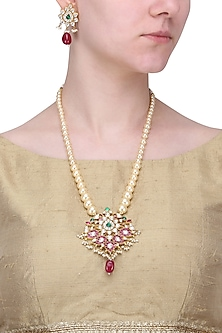 Gold Finish Pink and White Stone Leaf Pendant Necklace by Riana Jewellery