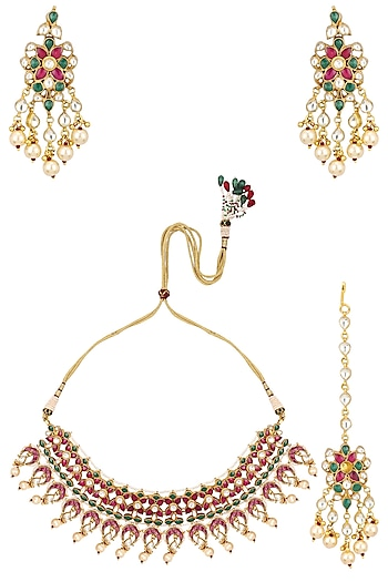 Gold Finish Pink and Green Stone Choker Necklace Set with Maang Tikka by Riana Jewellery