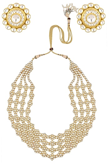 Gold Finish White Stone Studded Necklace Set by Riana Jewellery