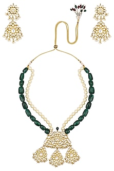 Gold Finish White Stone Studded Peacock Pendant Necklace Set by Riana Jewellery