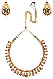 Gold Finish Red and Green Stone Necklace Set by Riana Jewellery