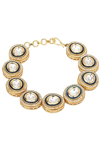 Gold Finish Kundan Stone Single Line Bracelet by Riana Jewellery