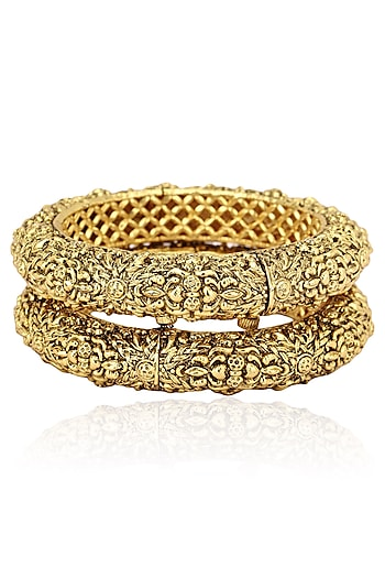 Set Of 2 Gold Finish Cutwork Bangles by Riana Jewellery