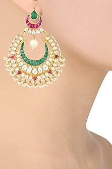 Gold Finish Green and Kundan Stone Chandbali Earrings by Riana Jewellery