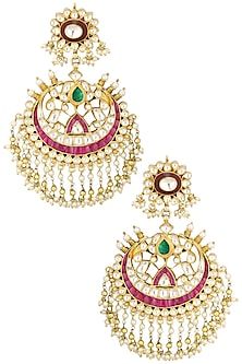 Gold Finish White and Green Stone Chandbali Earrings by Riana Jewellery