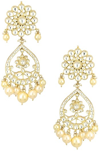 Gold Finish White Stone Floral Earrings by Riana Jewellery