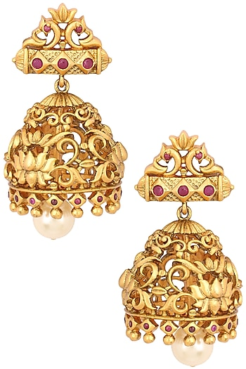 Gold Finish Floral Cutwork Jhumki Earrings by Riana Jewellery