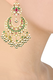 Gold Finish White, Green and Pink Stone Chandbali Earrings by Riana Jewellery