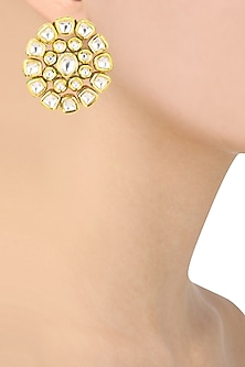 Gold Finish Kundan Stone Stud Earrings by Riana Jewellery