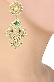Gold Finish White and Green Stone Flower Top Earrings by Riana Jewellery