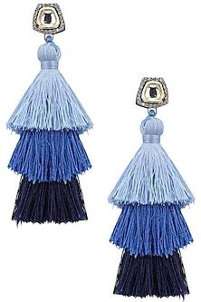 Gold Plated Hues Of Blue Tasseled Earrings by Riana Jewellery