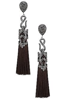 Gunmetal Plated Brown Sequins Tasseled Earrings by Riana Jewellery