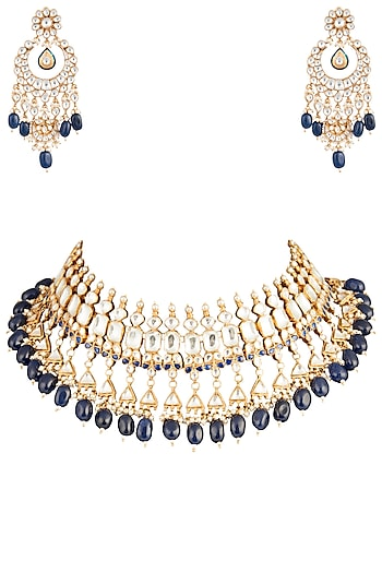 Gold Plated Semi-Precious Stones Choker Necklace Set by Riana Jewellery