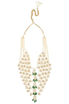 Gold Plated Five String Pearls and Semi-Precious Stones Necklace by Riana Jewellery