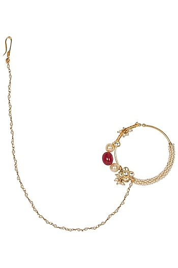 Gold Plated Flower Motif Nose Ring by Riana Jewellery