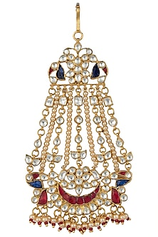 Gold Plated Red and Blue Peacock Passa by Riana Jewellery