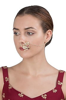 Gold Plated Red and White Nath by Riana Jewellery