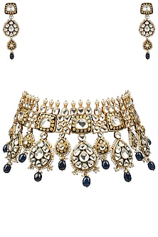 Gold Plated Blue Meena Necklace Set by Riana Jewellery