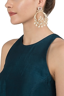 Gold Plated Chandbali Earrings by Riana Jewellery