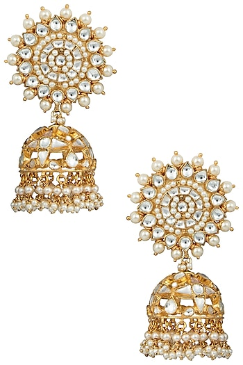 Gold Plated White Jhumki Earrings by Riana Jewellery