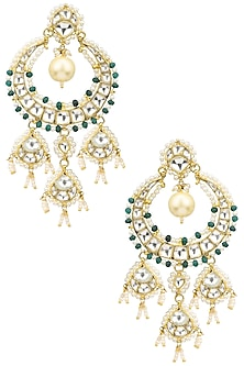 Gold Plated Green and White Bead Embellished Earrings by Riana Jewellery