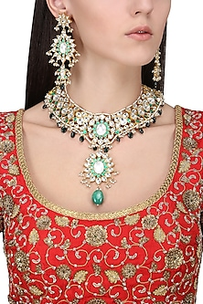 Gold Plate Green and White Bridal Necklace by Riana Jewellery