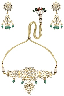 Gold Plated Green Droplet Choker by Riana Jewellery