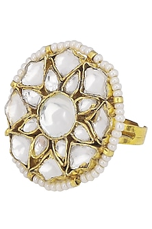 Gold Plated Small White Flower Ring by Riana Jewellery