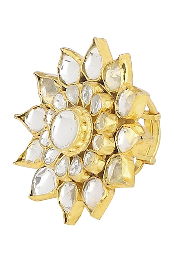 Gold Plated Flower Ring by Riana Jewellery