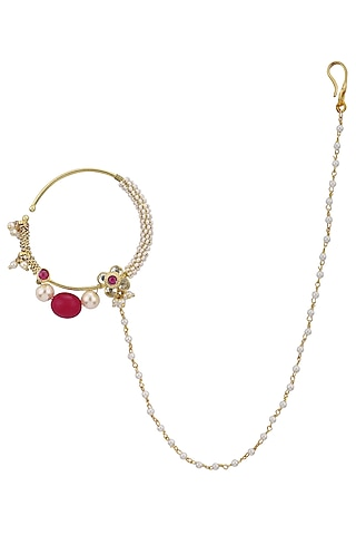 Gold Plated Flower Nath by Riana Jewellery