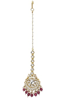 Gold Plated Pink Maangtikka by Riana Jewellery