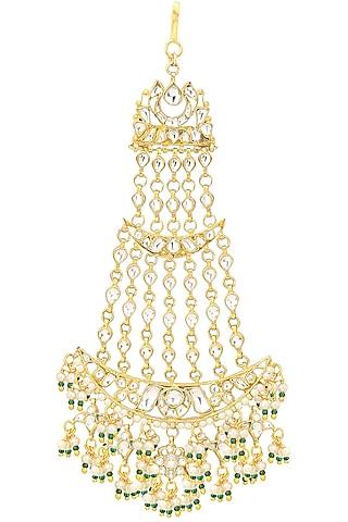 Gold Finish White Jadtar and Green Stone Passa by Riana Jewellery