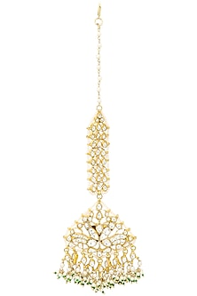 Gold Plated White Jadtar Stone Peacock Motif Maang Tikka by Riana Jewellery