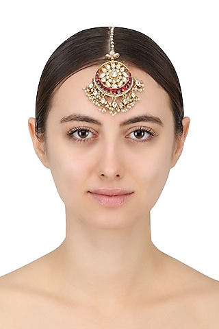Gold Plated White Jadtar Stone and Pearl Crescent Maang Tikka by Riana Jewellery