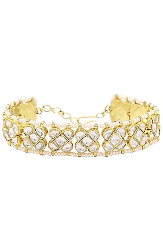 Gold Finish Wihte Jadtar Stone Single Line Bracelet by Riana Jewellery