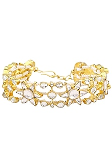 Gold Finish White Jadtar Stone Single Line Bracelet by Riana Jewellery