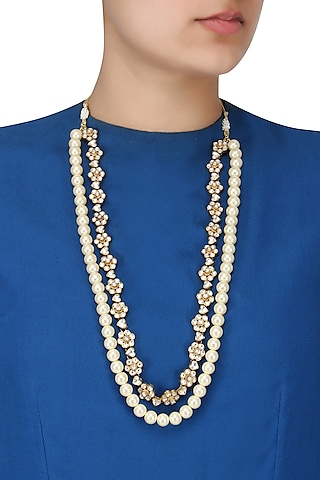 Gold Finish White Jadtar Stone and Pearl Long Necklace by Riana Jewellery