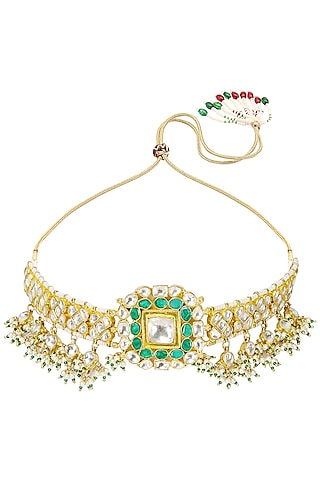 Gold Finish White Jadtar Stone and Pearl Choker Necklace  by Riana Jewellery