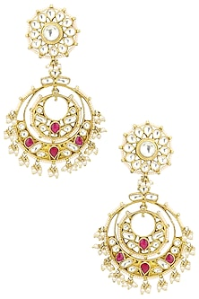 Gold Plated Pearl and Jadtar Stones Chandbali Earrings by Riana Jewellery