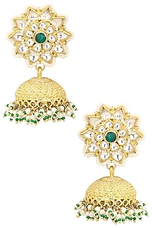 Gold Plated Pearl and Jadtar Stones Jhumki Earrings by Riana Jewellery