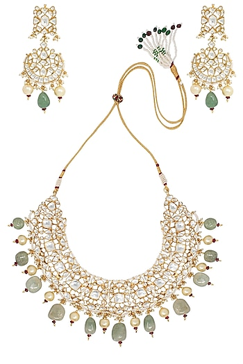 Gold Plated Sea Green and White Stones and Pearls Necklace Set by Riana Jewellery